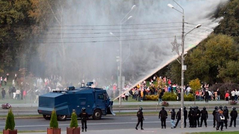 Протесты в центре Минска.