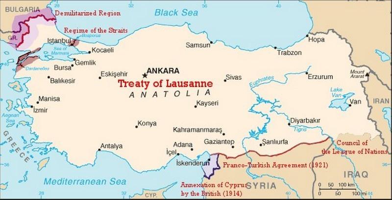 Границы Турции по Лозаннскому договору.
