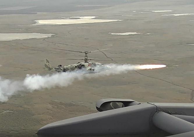Пуски ракет «Вихрь-1» на Кубани осуществлялись с ударных вертолётов Ка-52 «Аллигатор» с высоты около 300 метров.