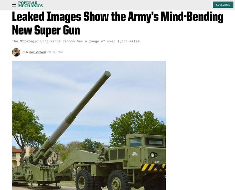 Опубликованное в журнале Popular Mechanics и просочившееся в сеть изображение новой суперпушки.