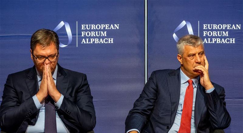 Вучич подвергается критике за то, что садится за стол переговоров с Тачи и другими косовскими лидерами, которые несут прямую ответственность за убийства сотен если не тысяч мирных сербов.