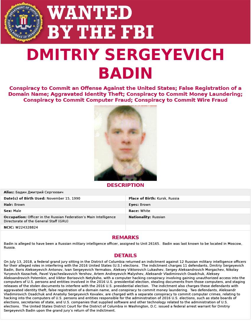 Листовка ФБР, по информации которой разыскивается «сотрудник ГРУ», якобы атаковавший германский рейхстаг.