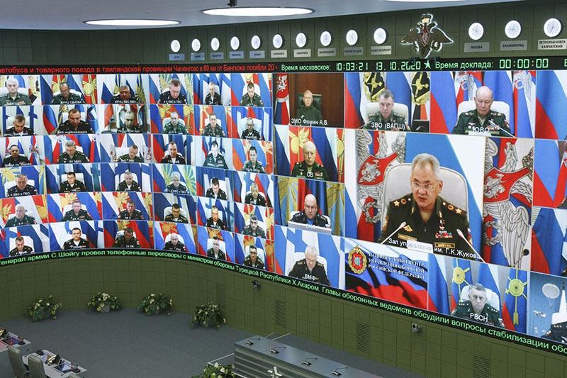 Селекторное совещание 13 октября в Национальном центре управления обороной Российской Федерации.
