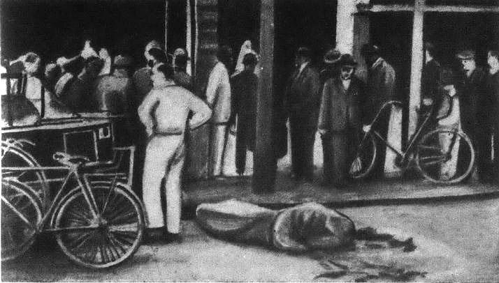 Тело Евгения Коновальца, накрытое материей, на месте взрыва.