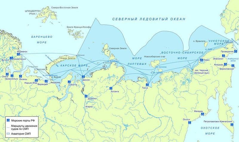 Карта движения судов по Северному морскому пути.