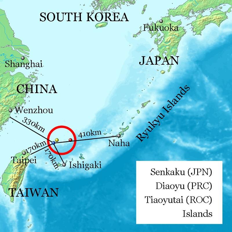 Токио постоянно выражает протест поповоду спорных островов Сенкаку (китайцы называют ихДяоюйдао), расположенных вВосточно-Китайском море.