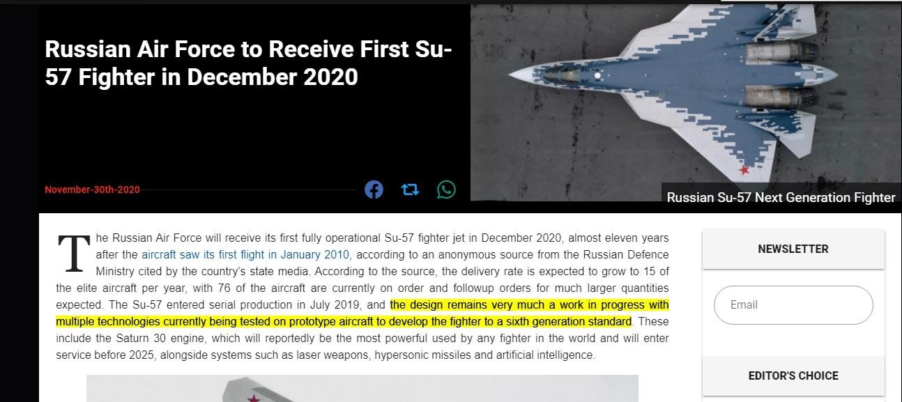 Скрин статьи в американском специализированном военном издании Military Watch.