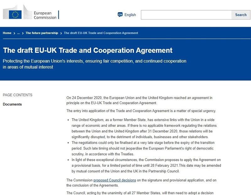 Проект Соглашения о торговле и сотрудничестве между ЕС и Великобританией.