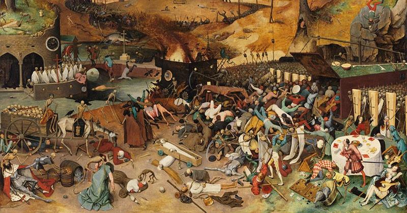 Шваб и Маллере проводят параллели с пандемиями чумы и оспы в Средние века. «Триумф смерти» - Питер Брейгель Старший.1561-1563 гг.