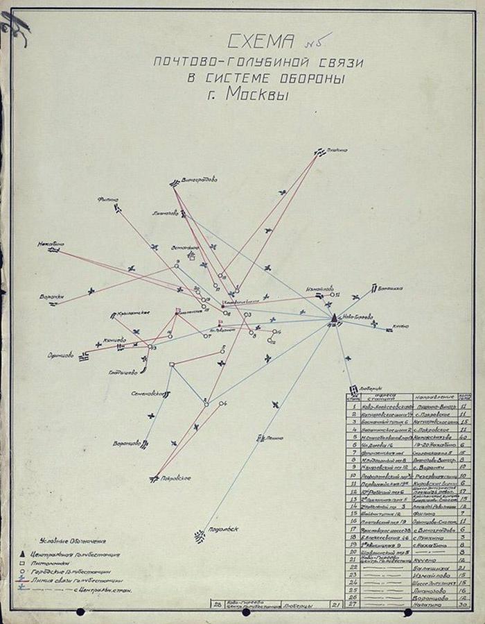 Схема почтово-голубиной связи в системе обороны Москвы.