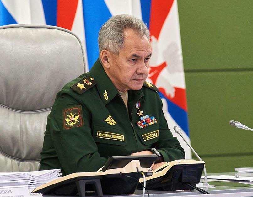 Министр обороны Российской Федерации генерал армии Сергей Шойгу на селекторном совещании с руководящим составом Вооружённых сил РФ.