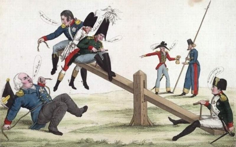 Наполеон Бонапарт возвращается с Эльбы. Карикатура 1815 года.