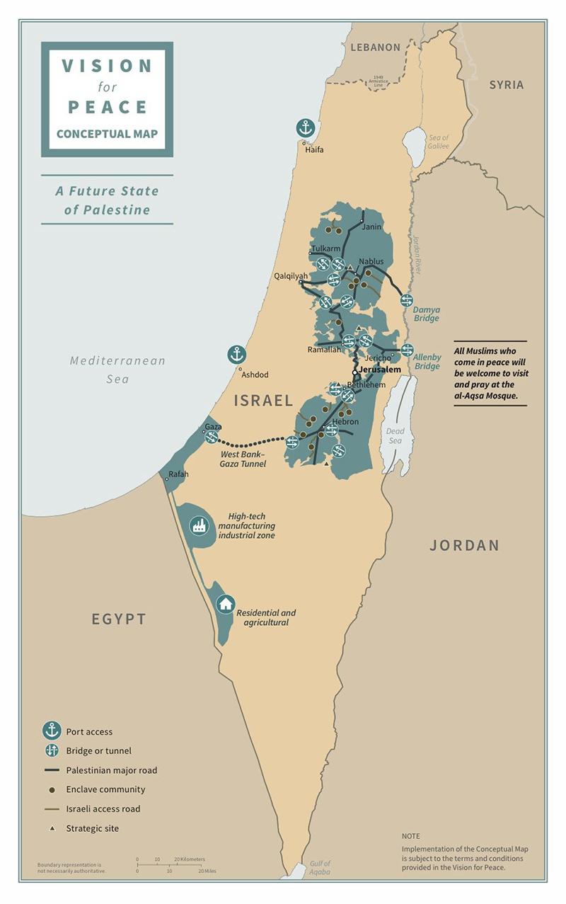 Карта плана урегулирования между Израилем и Палестиной, предложенного Трампом.