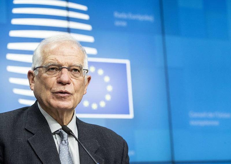 Верховный представитель ЕС по внешней политике Жозеп Боррель на итоговой пресс-конференции.