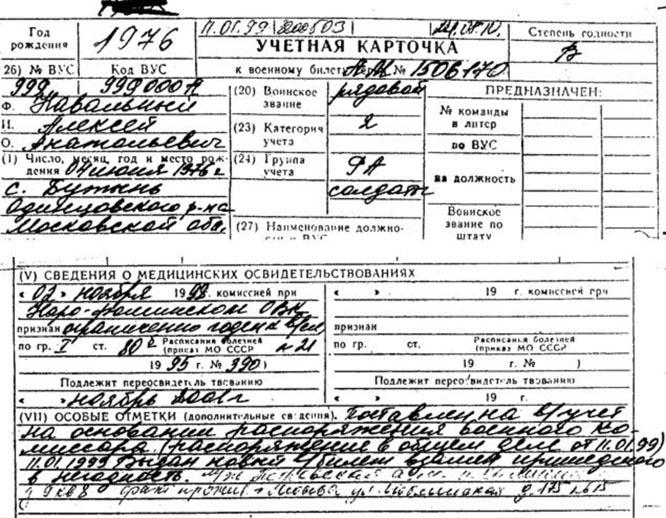 В учётной карточке призывника Навального значится, что она выдана в качестве первичной.