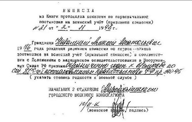 По результатам прохождения медицинского освидетельствования районной призывной комиссии в Наро-Фоминске Алексей Навальный был признангодным к военной службе с незначительными ограничениями.