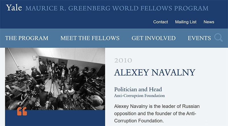 В 2010 году Алексей Навальный прошёл обучение по международной стипендиальной программе Йельского университета «Yale World Fellows».