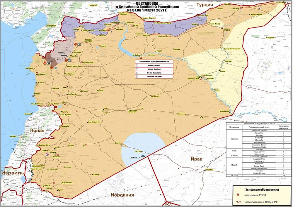 Обстановка в Сирийской Арабской республике на 1 марта 2021 г.
