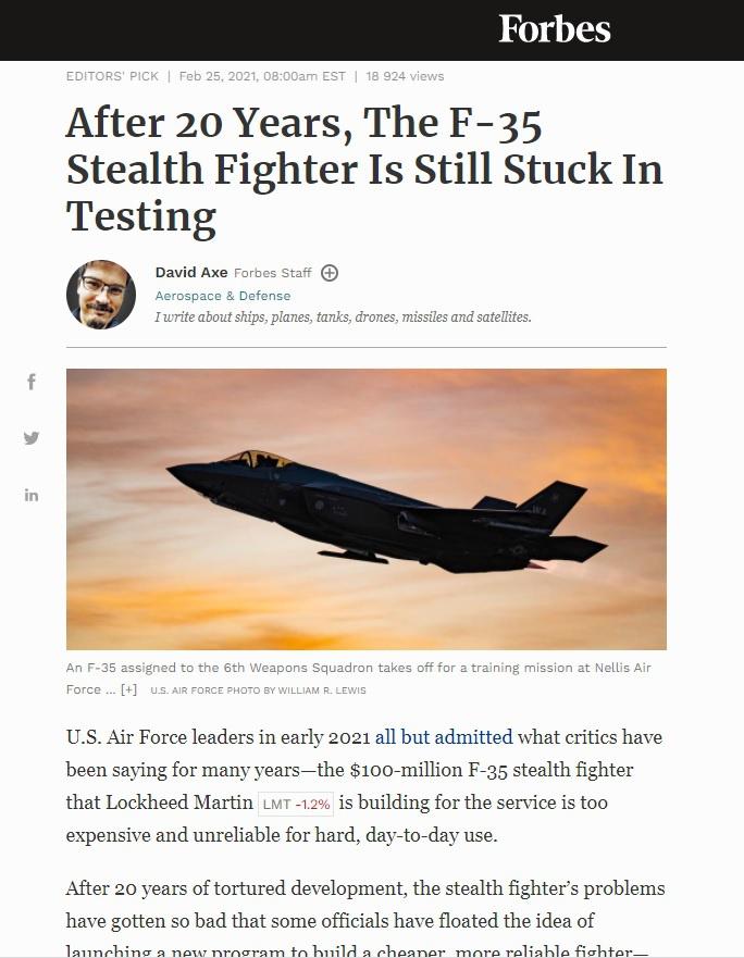 В конце февраля авторитетное издание Forbes опубликовало статью «After 20 Years, The F-35 Stealth Fighter Is Still Stuck In Testing».