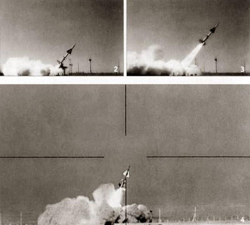 Съёмка испытательного пуска противоракеты В-1000.