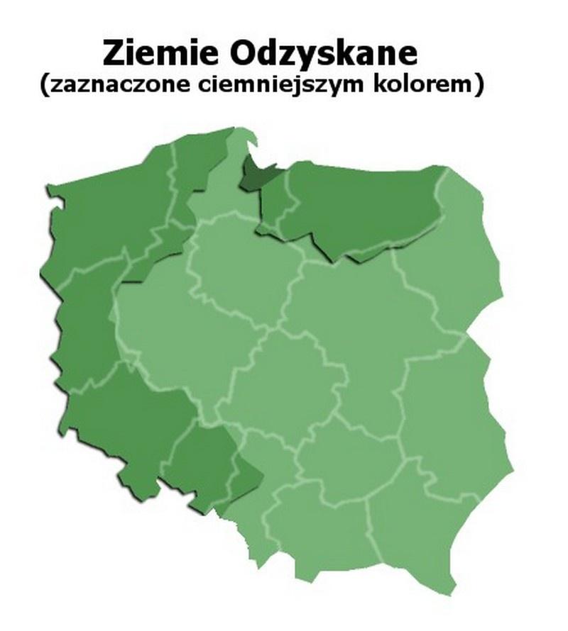 По решению Потсдамской конференции, к Польше были присоединены так называемые возвращённые земли - области Германии, расположенные восточнее речной линии Одер-Нейсе.