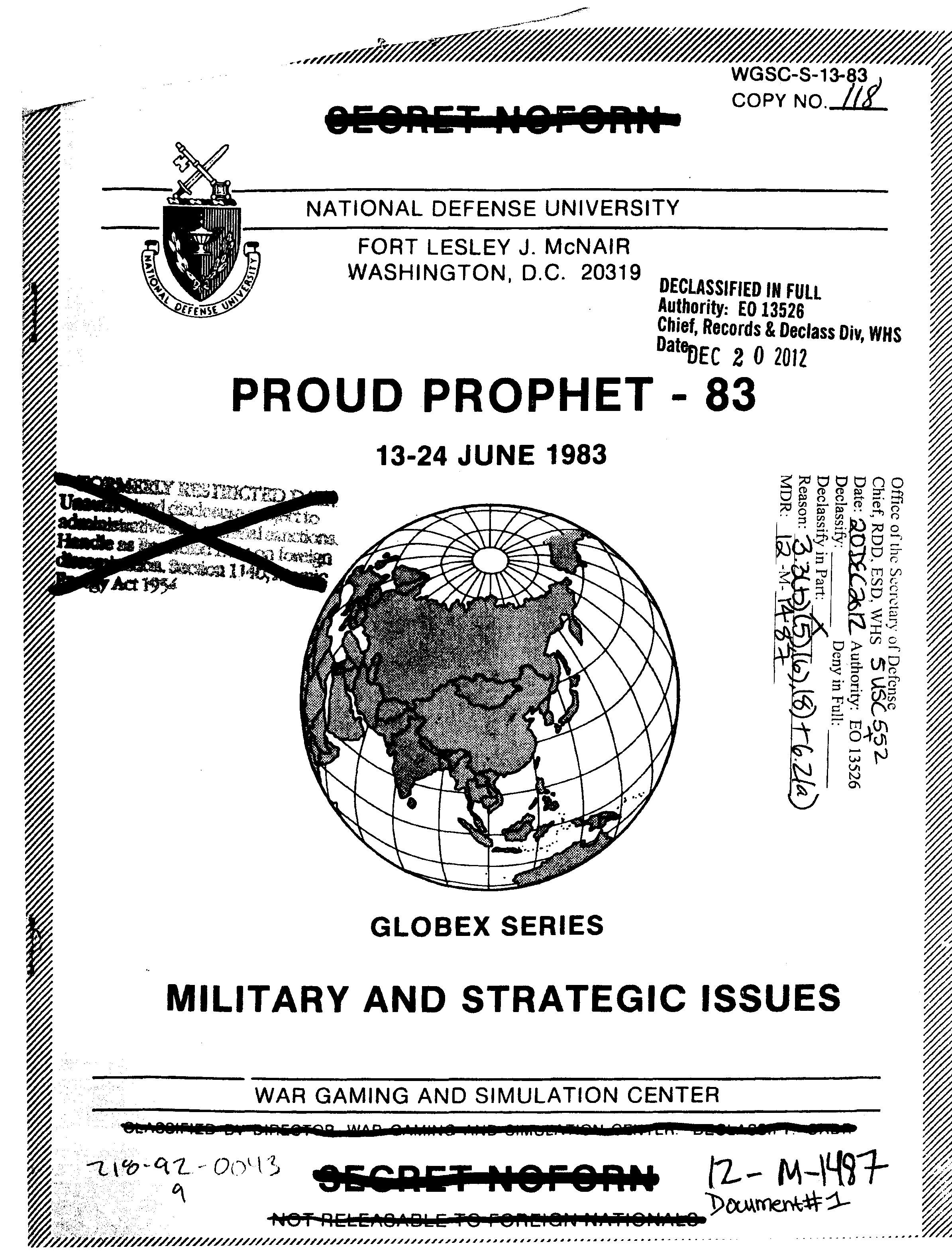 2 мая 1983 г. администрация президента США Рейгана начала учения под названием Proud Prophet («Гордый пророк»).