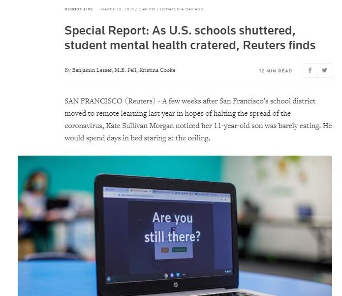 В феврале агентство Reuters провело опрос в школьных округах по всей стране, чтобы оценить, какое влияние оказывает на психическое здоровье детей полное или частичное закрытие школ.