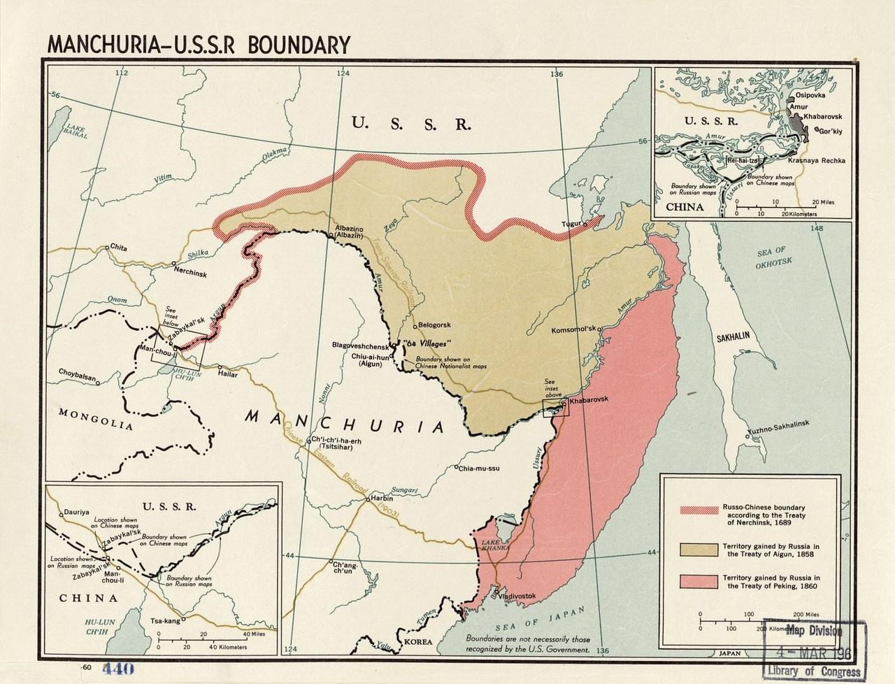 Карта территориальных изменений на Дальнем Востоке, которая иллюстрирует современные территориальные претензии КНР к РФ.