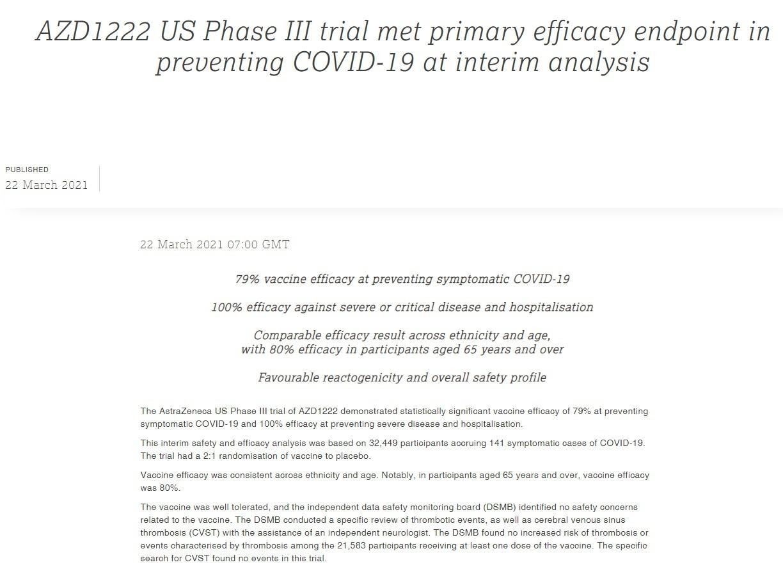 Пресс-релиз AstraZeneca от 22 марта, в котором заявлено о как бы успешном завершении фазы 3 исследования эффективности и безопасности своей вакцины.