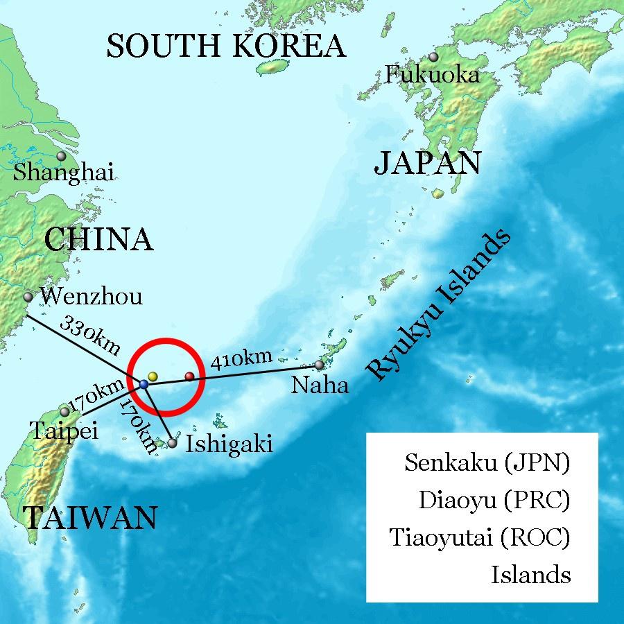 Острова Сенкаку (расстояние до соседних территорий и островов).