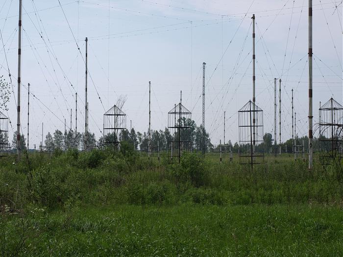 Антенное поле 309-го Центрального радиопеленгационного узла связи в городе Климовске.