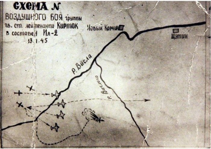 Схема воздушного боя группы гвардии старшего лейтенанта Николая Киртока.