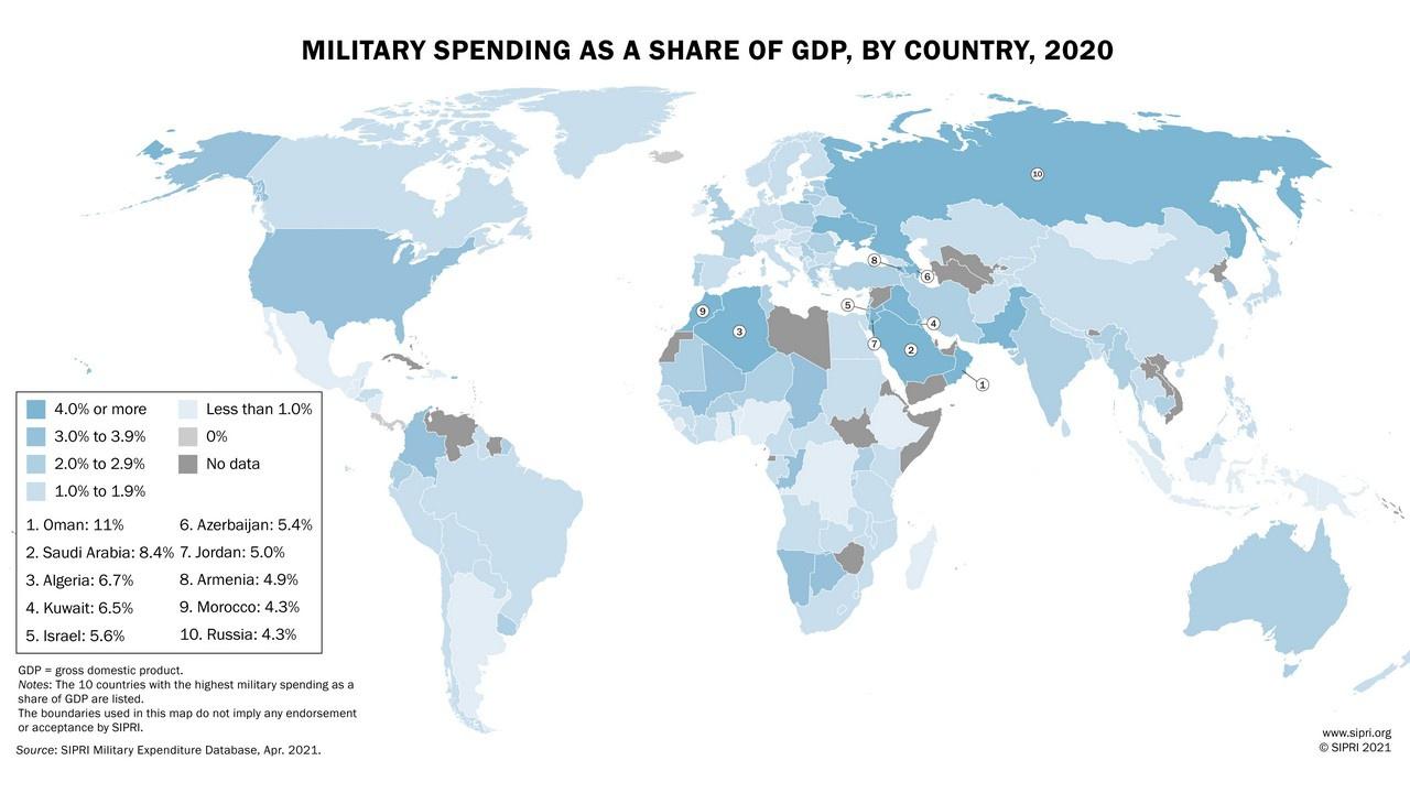 SIPRI: Военные расходы США составляют 39% от общемировых