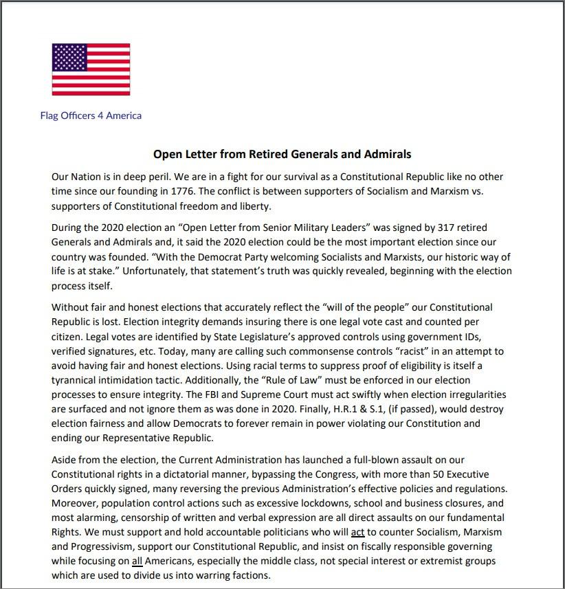 В открытом письме 124 отставных генерала и адмирала США заявили, что их страна находится в глубокой опасности.
