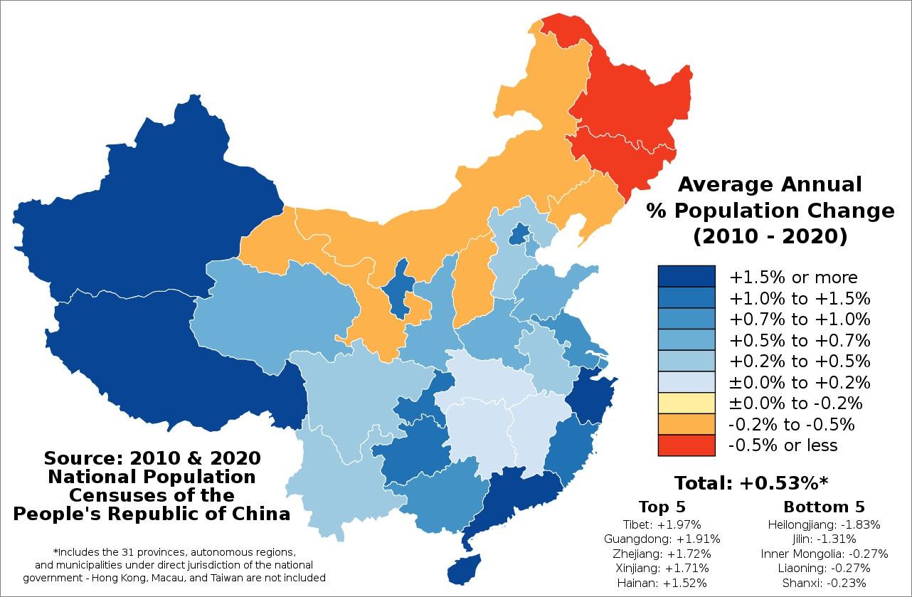 Среднегодовые темпы прироста населения в период с 2010 по 2020 год по данным Китайского национального статистического бюро.