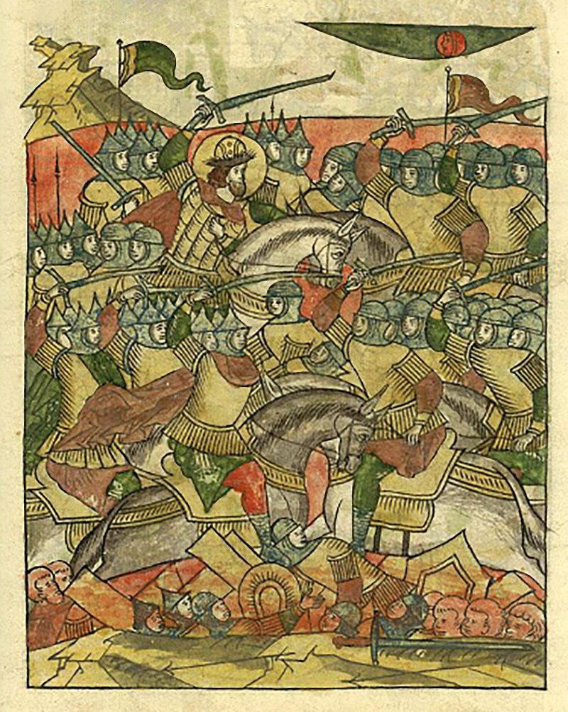 Ледовое побоище на льду Чудского озера с участием новгородцев и владимирцев под предводительством Александра Невского, с одной стороны, и войсками Ливонского ордена - с другой. 1242 год.
