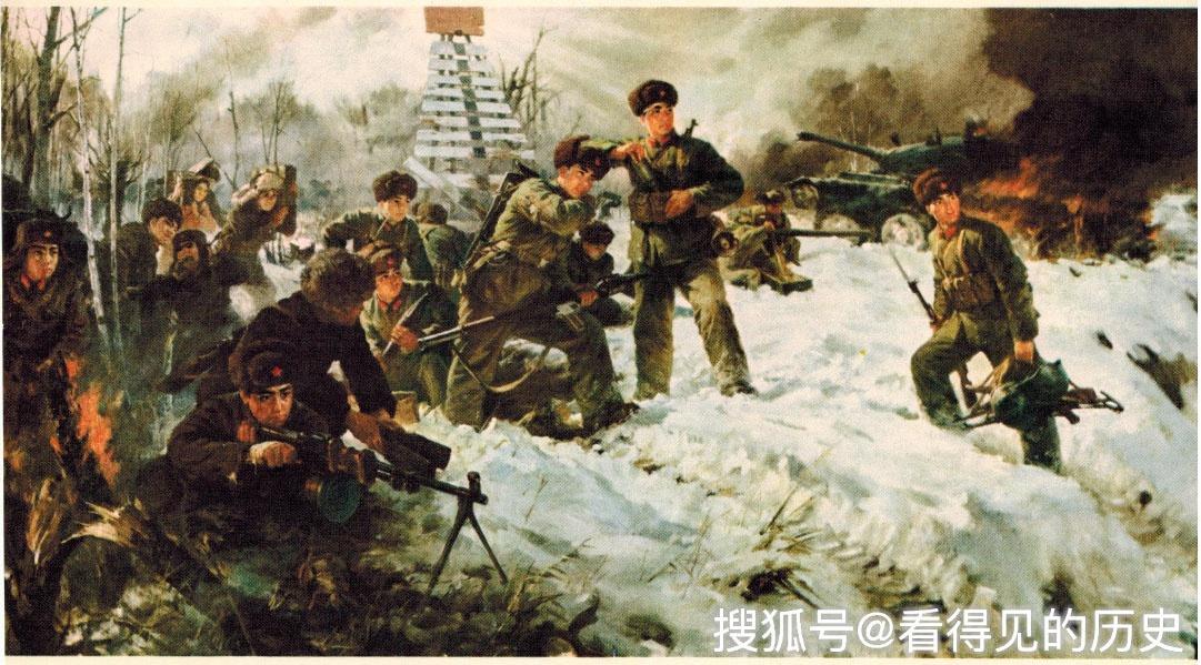 Агитационный плакат «Территория Родины неприкосновенна» китайского армейского художника Гуань Цимина, посвящённый битве на острове Чжэньбао (Даманский).