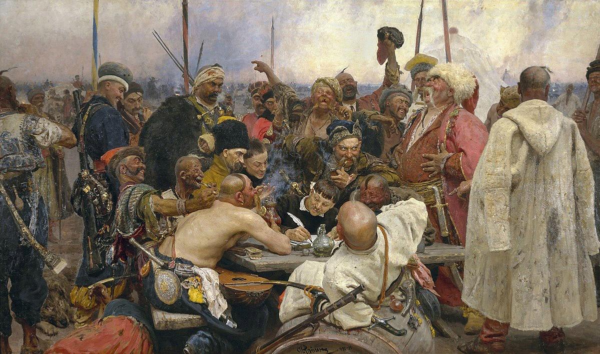 «Запорожцы пишут письмо турецкому султану». Репин очень сильно опоэтизировал Сечь.