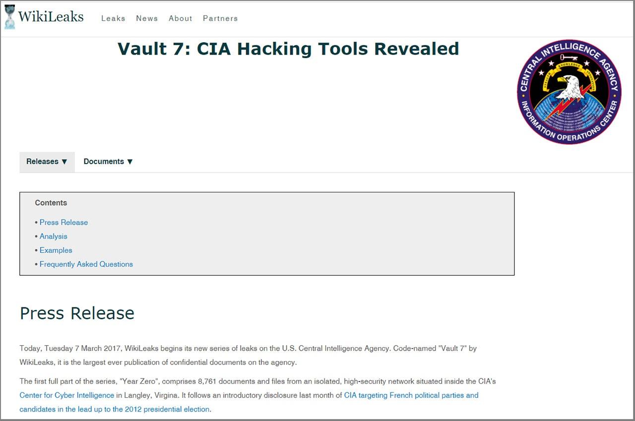 Информацию о Vault 7 («Убежище 7») на сайте Wikileaks.