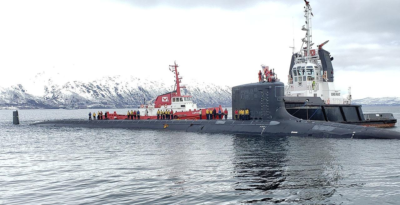 Американская атомная подлодка USS New Mexico прибыла в Тромсё. Норвегия, 10 мая 2021 года.