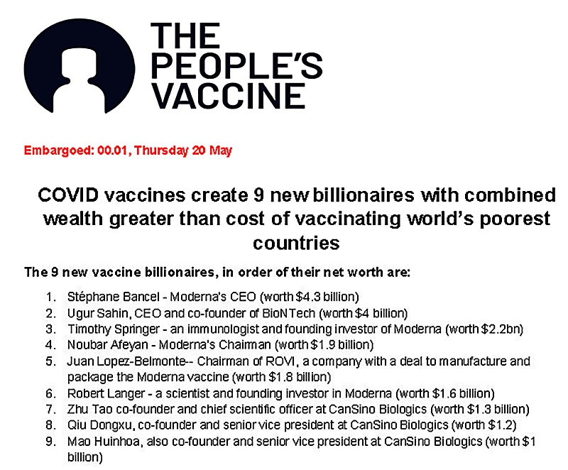 Доклад движения The People's Vaccine Alliance о девяти новых долларовых миллиардерах, разбогатевших на вакцине от Covid-19.