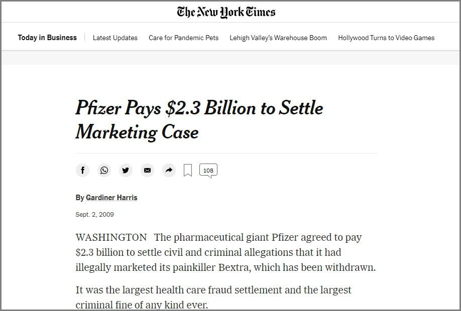 Статья «Pfizer Pays $2.3 Billion to Settle Marketing Case» в газете The New York Times.