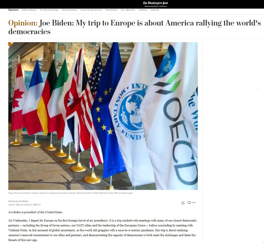 В своей статье в «Вашингтон пост», опубликованной 6 июня этого года в колонке «Мнение», Джозеф Байден утверждал, что Соединённые Штаты «не стремятся к конфликту».