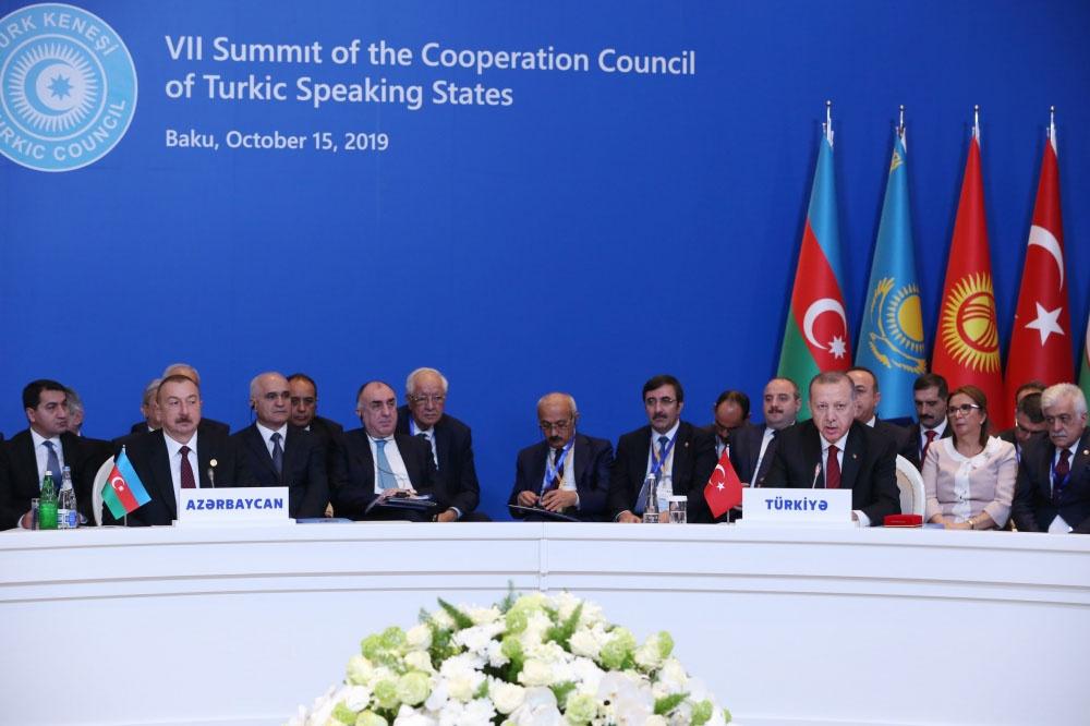 Реджеп Эрдоган на VII саммите Совета сотрудничества тюркоязычных государств в Баку.