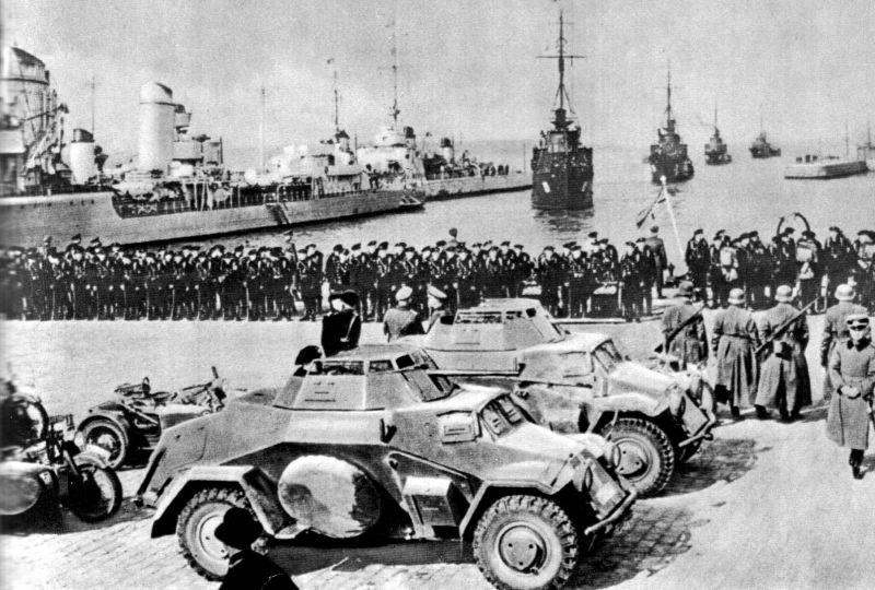 Вступление немецких войск в Клайпеду как результат принятия Литвой германского ультиматума с требованием возвратить Клайпедский край.