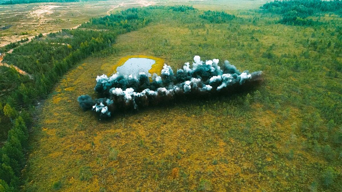 Установка разминирования УР-83П проделала 100-метровый проход шириной до 8 метров.