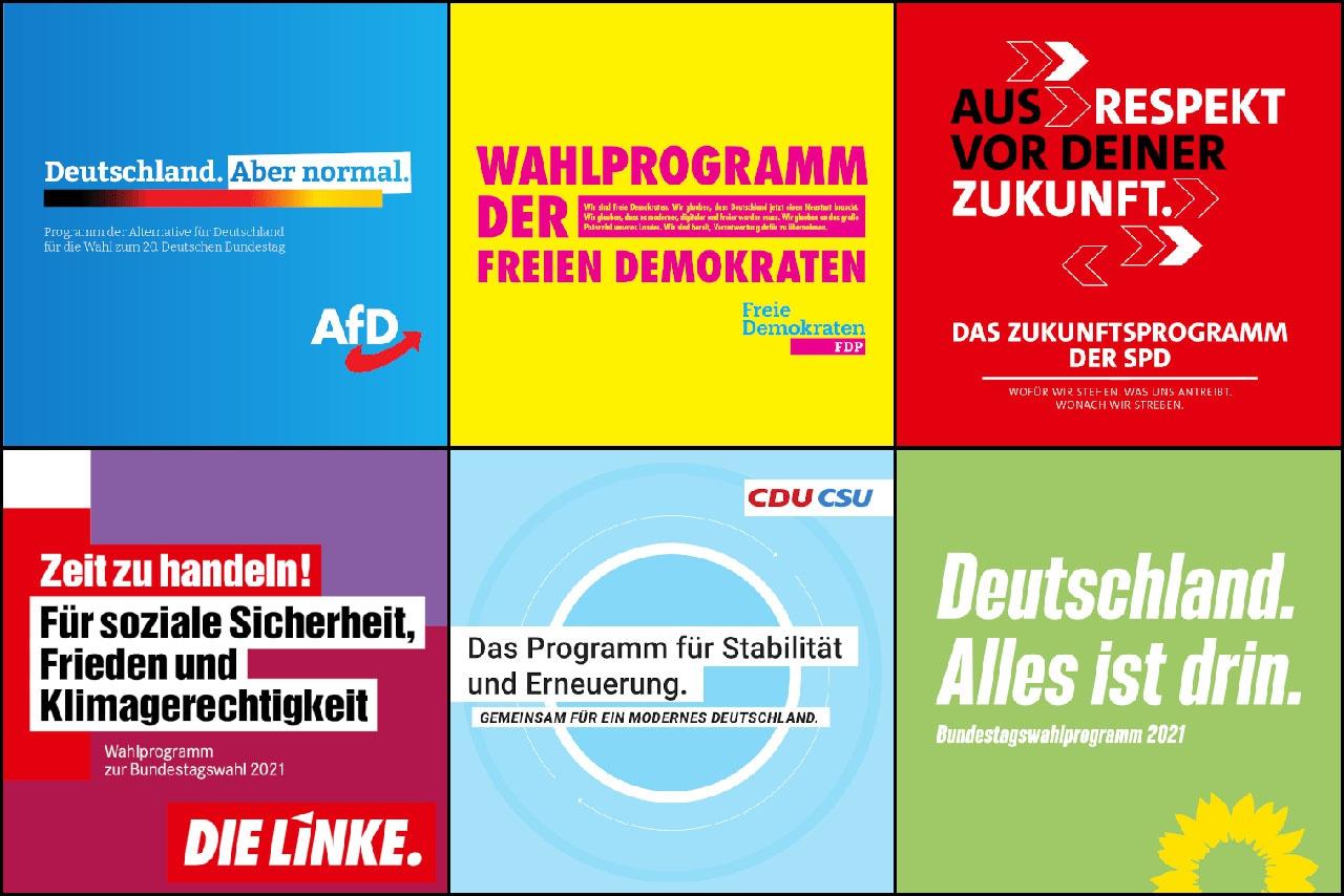 Программы партий на-федеральных выборах в бундестаг 2021 года.