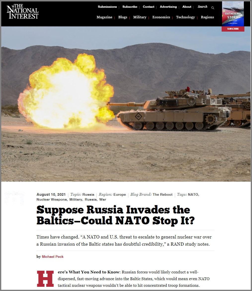 Статья «Предположим, Россия вторгнется в Прибалтику - сможет ли НАТО остановить её?» в журнале The National Interest