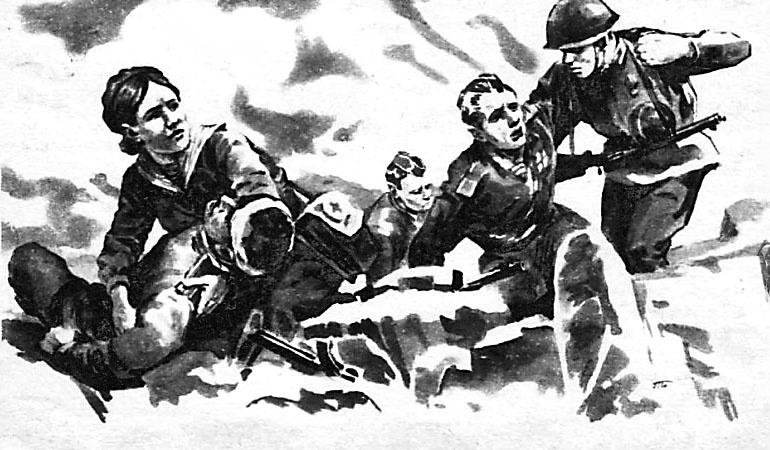 В бою санинструктор Цуканова стала оказывать пострадавшим первую помощь, перемещая раненых бойцов в укрытие.