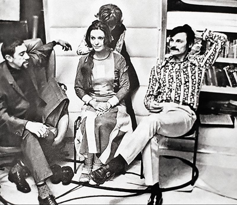 Эдуард Артемьев и Андрей Тарковский во время съёмок фильма «Солярис», в центре актриса Наталья Бондарчук.